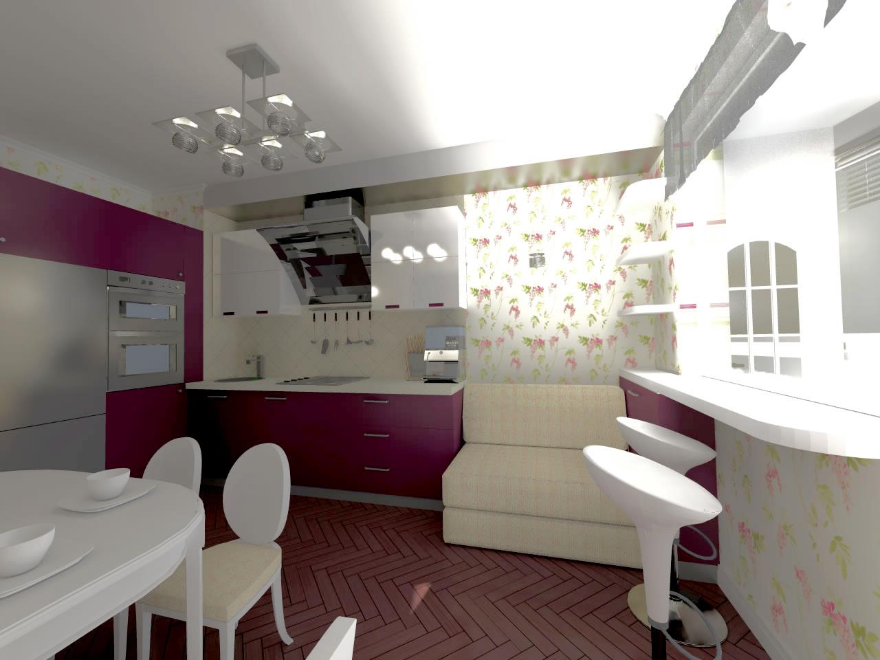 Кухня с баром для гостей.