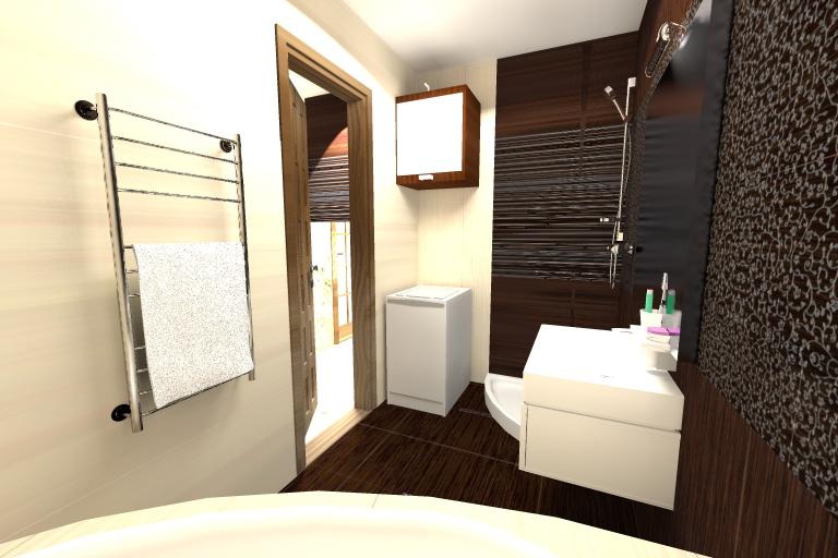 Ванная комната в темно-коричневых тонах.