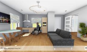 Дизайн интерьера  коттеджа для инвалидов